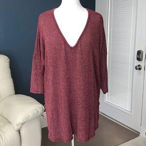 LORAMENDI V-neck Tunic Lightweight Sweater Top XL